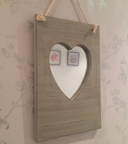Grey Rough Finish Wooden Rope Wall Hanging Heart Mirror